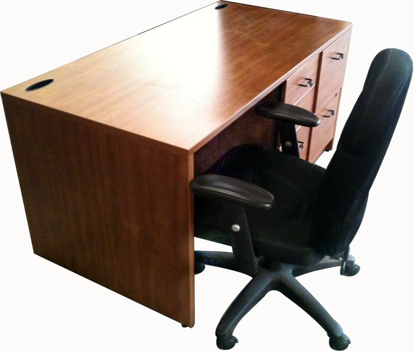 60″ Large Wood Computer Desk w/Two Grommet Cable Hole Covers, Black